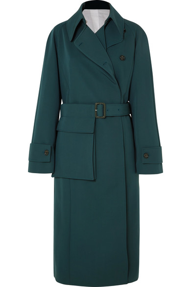 Stafford Oversized Wool-Gabardine Coat in Green