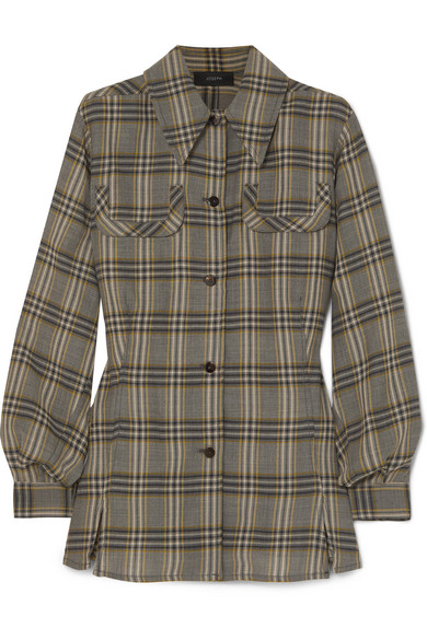 Asher Checked Wool Flannel Shirt by Joseph
