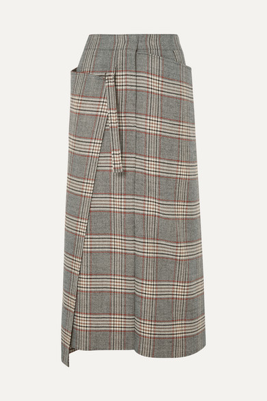 Beck Checked Wool Midi Skirt in Gray