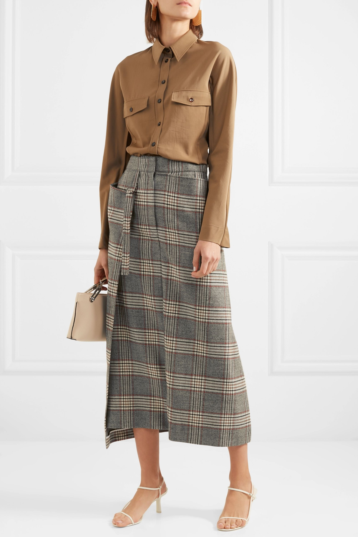 Joseph Beck checked wool midi skirt