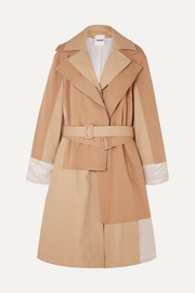 Koché Paneled cotton-jersey, twill and hammered satin trench coat