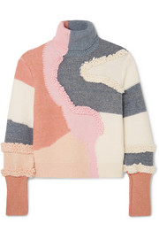 Peter Pilotto Patchwork cotton-blend turtleneck sweater
