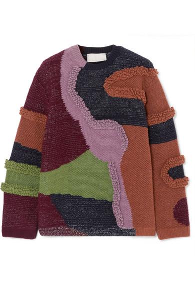 Peter Pilotto - Patchwork Cotton-blend Sweater - Purple
