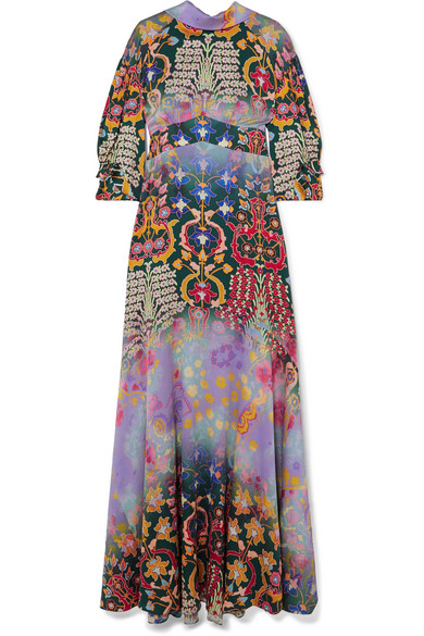 Peter Pilotto - Floral-print Hammered-silk Gown - Purple