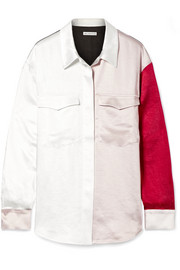 Sophie color-block washed-satin shirt
