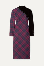 Marc Jacobs Embellished tartan wool and velvet midi dress