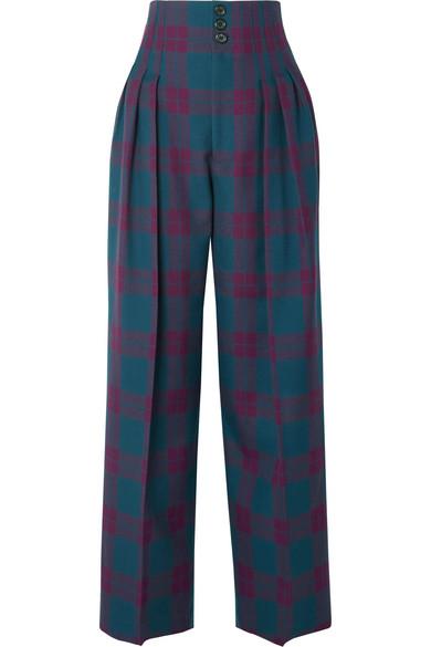 Marc Jacobs - Pleated Tartan Wool Wide-leg Pants - Purple