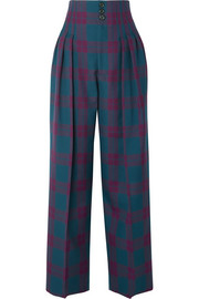 Marc Jacobs Pleated tartan wool wide-leg pants