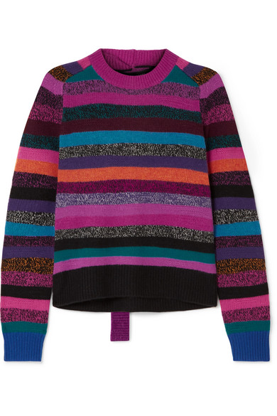 Marc Jacobs - Tie-back Striped Cashmere Sweater - Pink