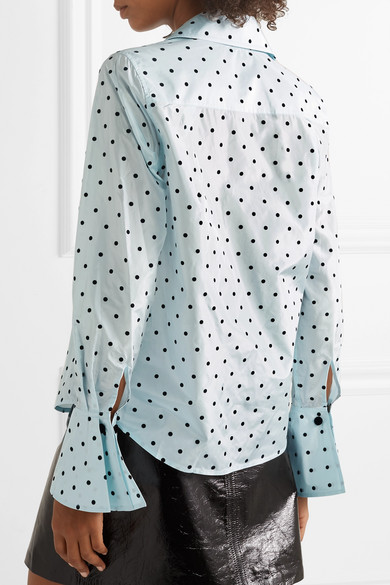 Marc Jacobs Shirts Polka-dot flocked silk-taffeta shirt