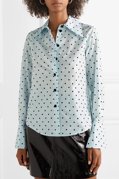 Marc Jacobs T-shirts Polka-dot flocked silk-taffeta shirt