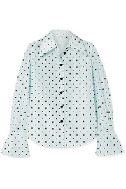 Marc Jacobs Polka-dot flocked silk-taffeta shirt