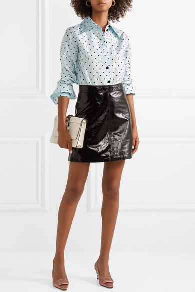 ce59dfbd70f7e Marc Jacobs. Polka-dot flocked silk-taffeta shirt