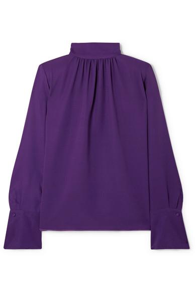 Marc Jacobs - Silk-crepe Turtleneck Blouse - Purple