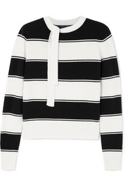 Marc Jacobs Tie-detailed striped wool sweater