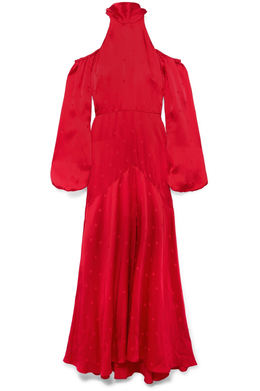 Temperley London Betty cold-shoulder satin-jacquard maxi dress
