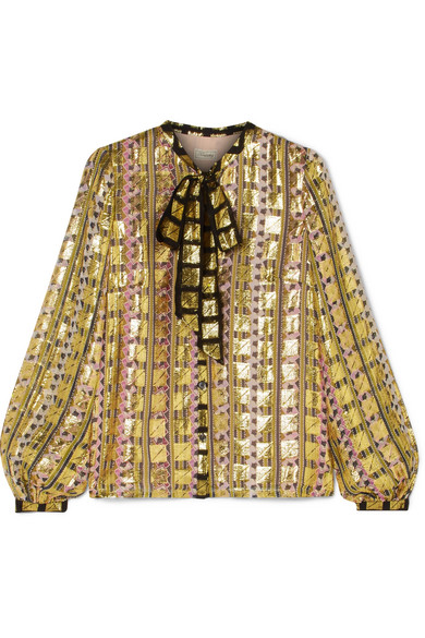 Temperley London - Pussy-bow Printed Fil Coupé Chiffon Blouse - Gold