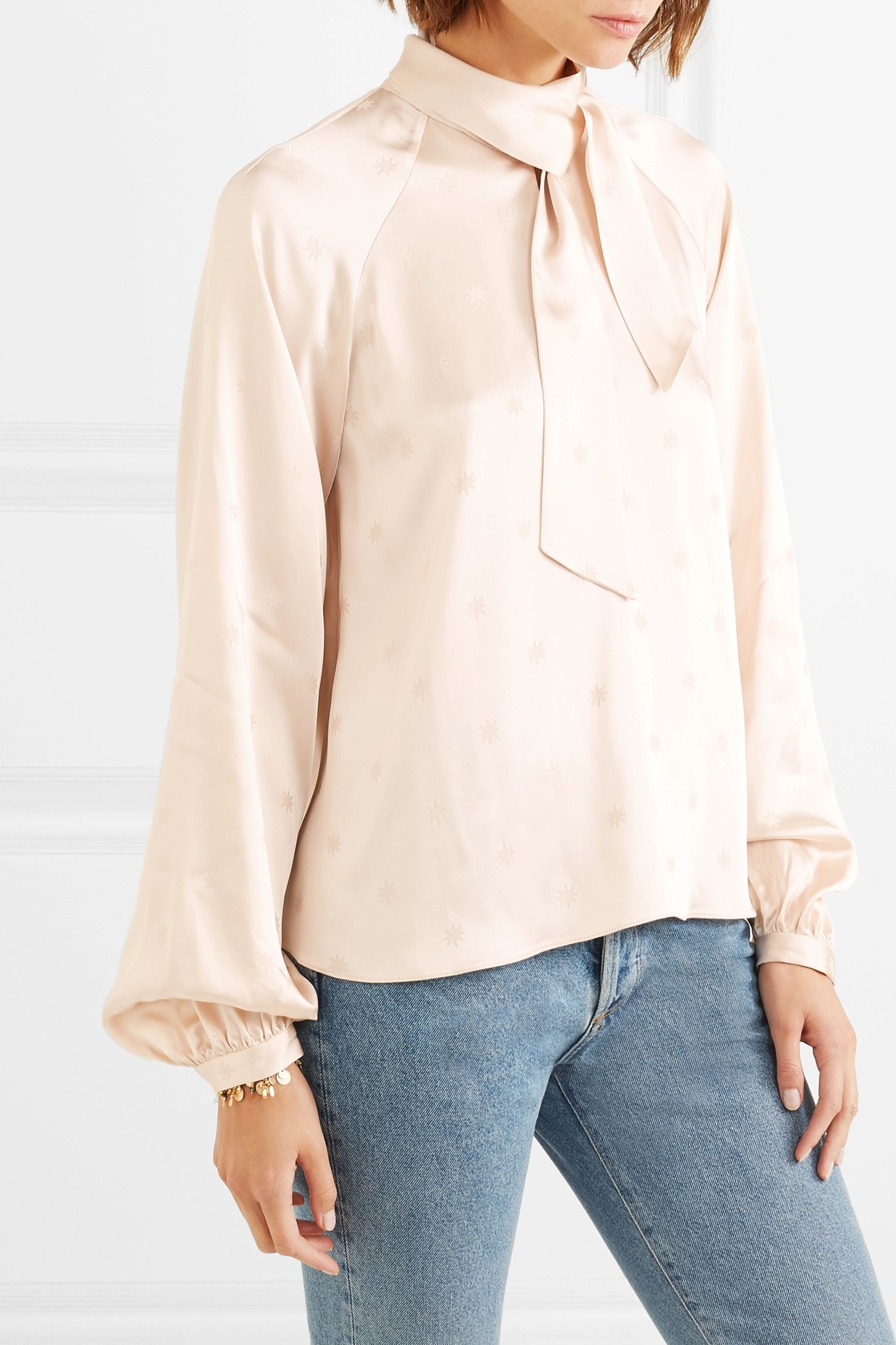 Temperley London Betty pussy-bow satin-jacquard blouse