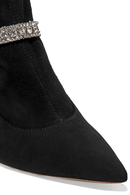 Sophia Webster Lorena crystal-embellished stretch-suede sock boots