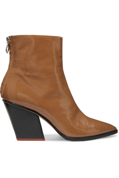 AEYDE Cherry Patent-Leather Ankle Boots in Tan
