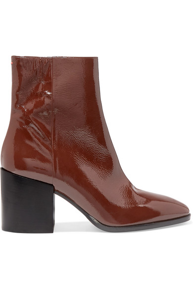 AEYDE Leandra Patent-Leather Ankle Boots