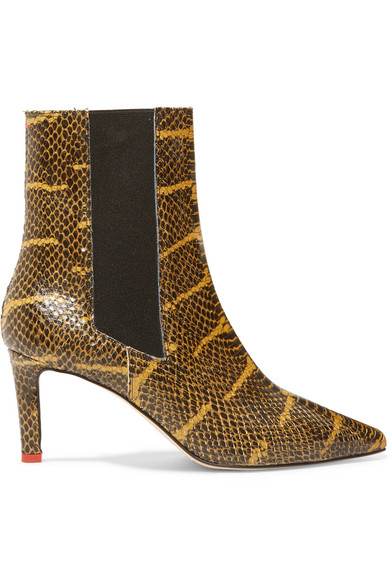 AEYDE Leila Snake-Effect Leather Ankle Boots, Snake Print