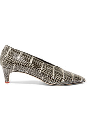 Camilla snake-effect leather pumps