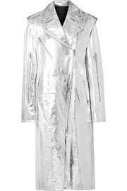 Convertible metallic leather trench coat