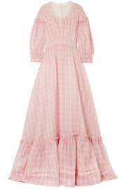CALVIN KLEIN 205W39NYC Tulle and lace-trimmed checked silk-organza gown