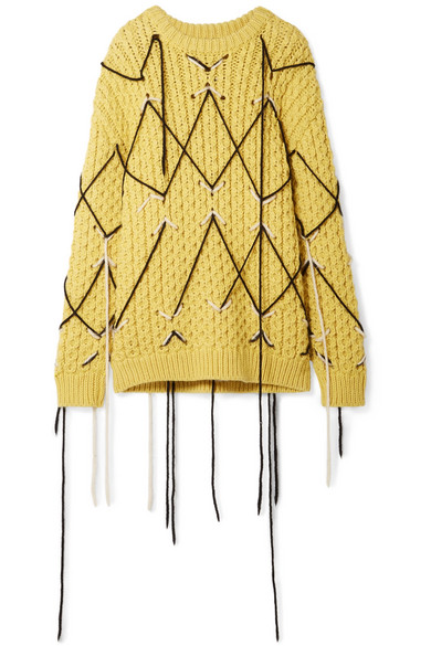 Honeycomb-Knit Wool-Mohair Oversized Sweater - Yellow Size S