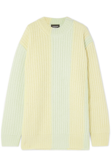 Calvin Klein 205w39nyc STRIPED RIBBED MOHAIR-BLEND SWEATER