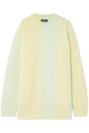 Striped ribbed mohair-blend sweater