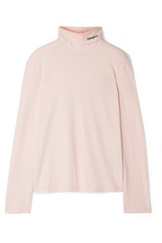 CALVIN KLEIN 205W39NYC Embroidered cotton-jersey turtleneck top