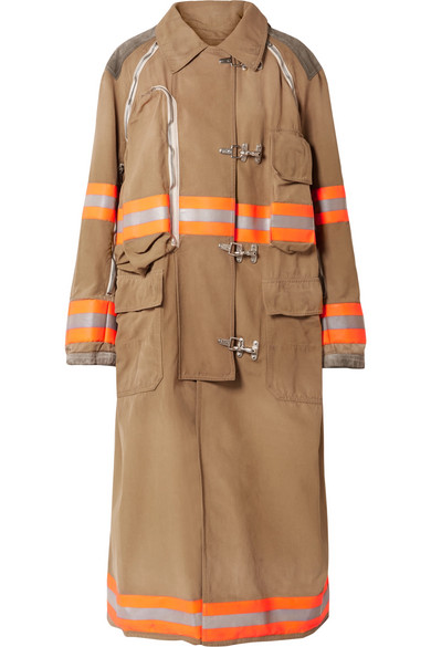 Oversized Convertible Reflective Trimmed Cotton Canvas Coat by Calvin Klein 205 W39 Nyc