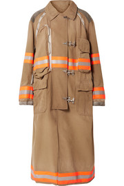 CALVIN KLEIN 205W39NYC Oversized convertible reflective-trimmed cotton-canvas coat