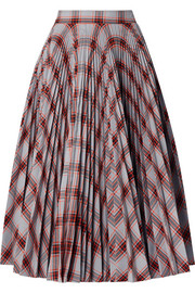 CALVIN KLEIN 205W39NYC Pleated checked twill midi skirt