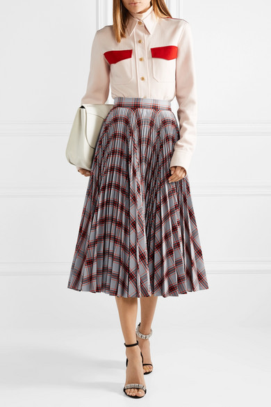 Pleated Checked Twill Midi Skirt by Calvin Klein 205 W39 Nyc