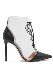 Gianvito Rossi 105 lace-up PVC and leather ankle boots