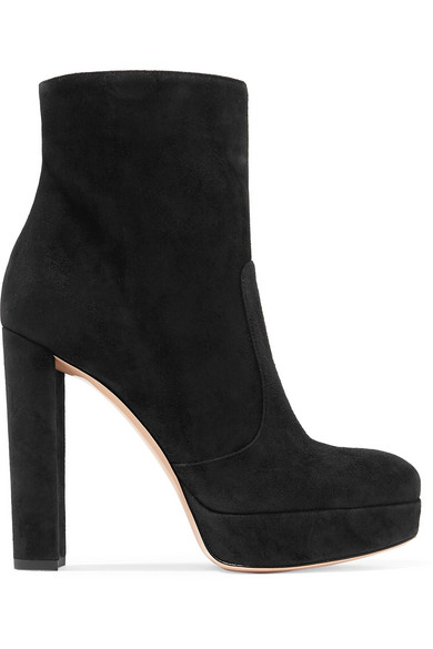 Gianvito Rossi Boots | Brook 120 Ankle Boots Rossi aus Veloursleder mit Plateau d3d006
