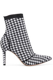 Gianvito Rossi 85 houndstooth stretch-knit sock boots