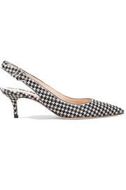 Gianvito Rossi 65 houndstooth calf hair slingback pumps