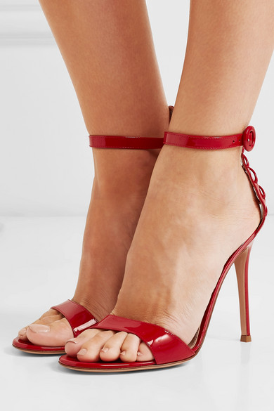 Gianvito Rossi Sandals 105 lace-up patent-leather sandals