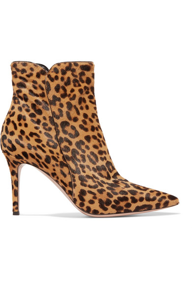 Levy 85 Leopard-Print Calf Hair Ankle Boots in Brown