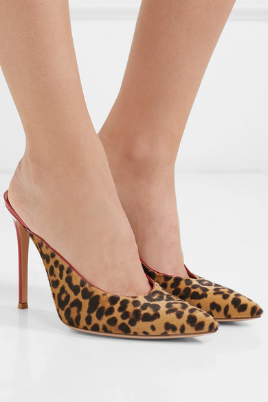 17f3e6cb97ee Gianvito Rossi. 105 leopard-print calf hair and patent-leather mules