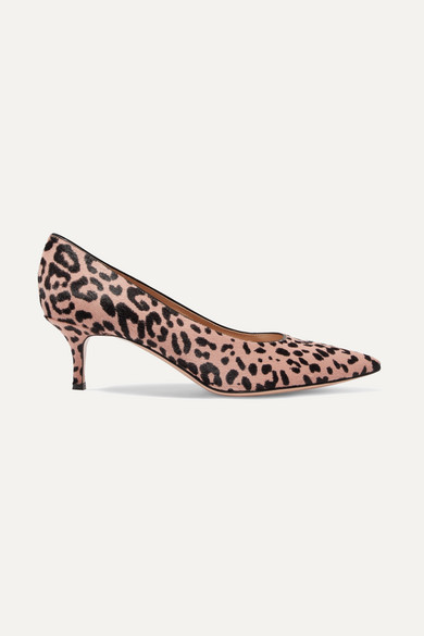 Gianvito Rossi - 55 Leopard-print Calf Hair Pumps - Leopard print
