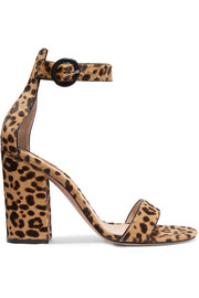 Portofino 100 leopard-print calf hair sandals