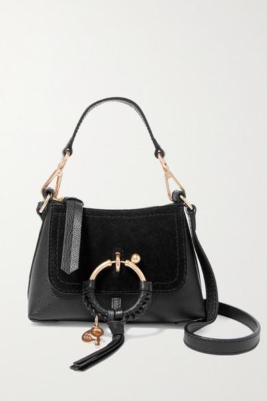 f597a33d Joan mini suede-paneled textured-leather shoulder bag