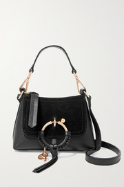 Joan mini suede-paneled textured-leather shoulder bag