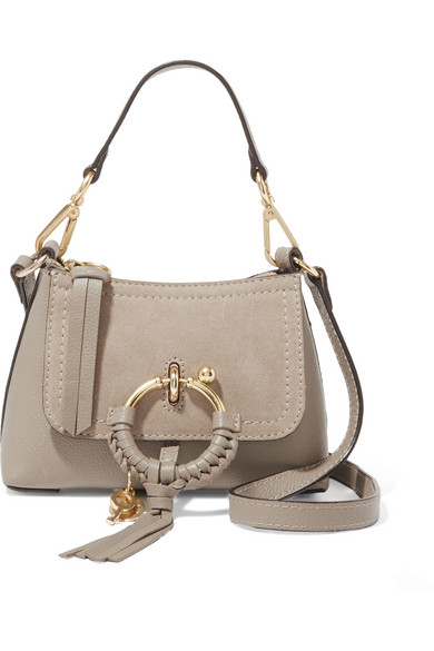 See By Chloé - Joan Mini Suede-paneled Textured-leather Shoulder Bag - Gray