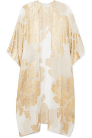 Marie France Van Damme Big Flower Babani metallic silk-blend chiffon and jacquard kimono